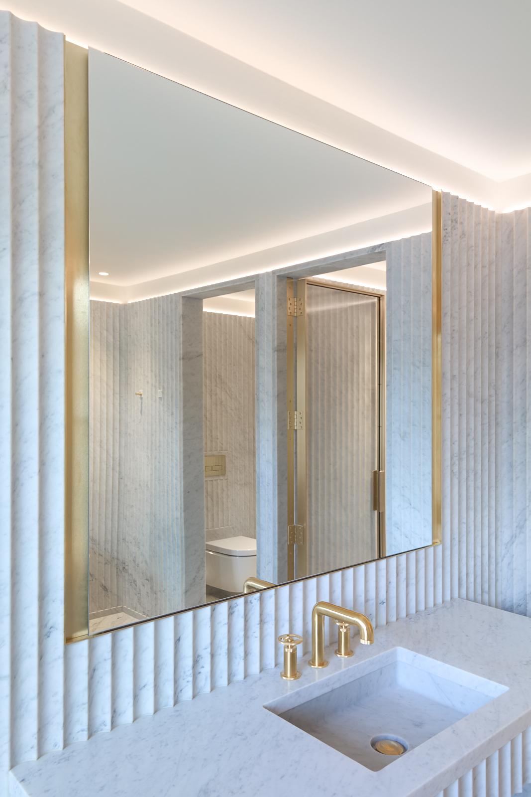 Gabriel Chipperfield, interior, bathroom, fluted marble